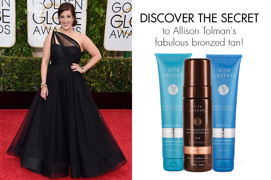 Get Allison Tolman's Golden Globes sunless tan with celebrity tanner Vita Liberata