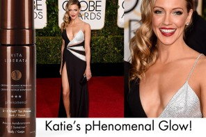 Katie Cassidy's pHenomenal tan for Golden Globes